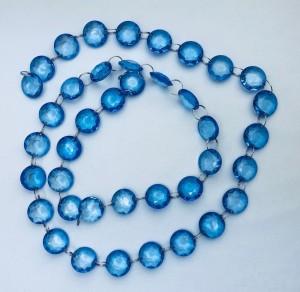 Girlandy kryształowe - Girlanda kryształowa, niebieska / 1m