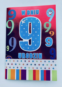 """Kartki urodzinowe - Karnet na """"9 urodzinowy"""" /  HM-200-525"""