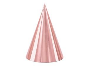 Czapeczki - Zestaw czapeczek urodzinowych metalizowanych różowe złoto / 16 cm