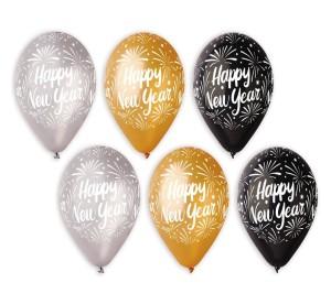 "Balony lateksowe z napisami - Balony na Sylwestra ""Happy New Year"", balony lateksowe Premium / mix"