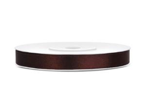 Tasiemki satynowe 6 mm - Tasiemka satynowa, brązowa / 6 mm