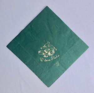Serwetki papierowe z napisami - Serwetki z nadrukiem ślubnym, butelkowa zieleń - WYPRZEDAŻ