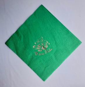 Serwetki papierowe z napisami - Serwetki z nadrukiem ślubnym, zielone - WYPRZEDAŻ