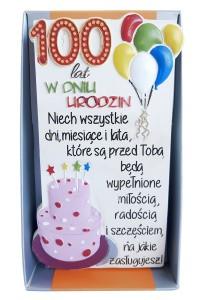 """Tabliczki z dedykacją do postawienia - Kamienna tabliczka """"100 lat w dniu urodzin"""""""