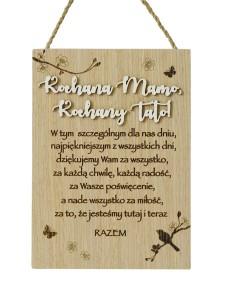"""Podziękowania dla rodziców - Tabliczka drewniana """"Kochana Mamo, Kochany Tato"""""""