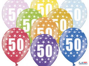 Balony lateksowe na okrągłe urodziny - Balony na 50 urodziny, mix kolorów / SB14M-050-000-6