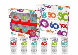 Kieliszki okolicznościowe - Zestaw 6 kieliszków na 60 urodziny / 35 ml
