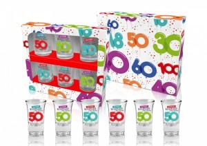 Kieliszki okolicznościowe - Zestaw 6 kieliszków na 50 urodziny / 35 ml
