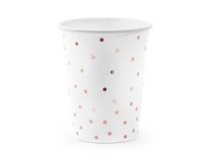 Kubeczki wzorzyste papierowe - Kubeczki papierowe białe w kropki w kolorze różowego złota / 260 ml