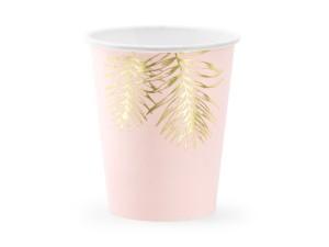 Kubeczki wzorzyste papierowe - Kubeczki papierowe różowe w złote liście / 220 ml