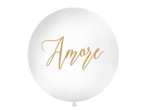 """Balony lateksowe Olbo - Balon lateksowy OLBO - biały ze złotym napisem """"Amore"""" / średnica 1m"""