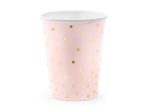 Kubeczki wzorzyste papierowe - Kubeczki papierowe różowe w złote kropki / 260 ml
