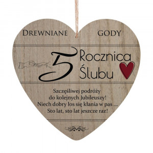 Tabliczki z dedykacją do powieszenia - Tabliczka Serce 5 Rocznica Ślubu