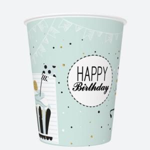 Kubeczki z napisami papierowe - Kubeczki papierowe miętowe Happy Birthday