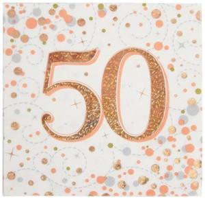 Serwetki papierowe cyfry i liczby - Serwetki holograficzne na 50 urodziny