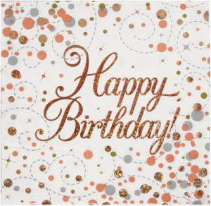 Serwetki papierowe z napisami - Serwetki holograficzne na Happy Birthday