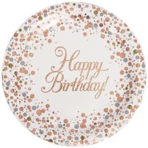 Talerzyki z napisami - Talerzyki holograficzne Happy Birthday