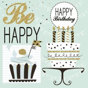 Serwetki papierowe z napisami - Serwetki miętowe Happy Birthday