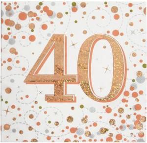 Serwetki papierowe cyfry i liczby - Serwetki holograficzne na 40 urodziny