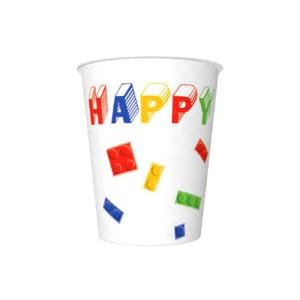 Kubeczki z napisami papierowe - Kubeczki klocki Lego / 250 ml