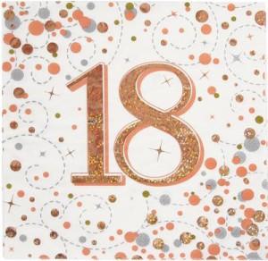Serwetki papierowe cyfry i liczby - Serwetki holograficzne na 18 urodziny