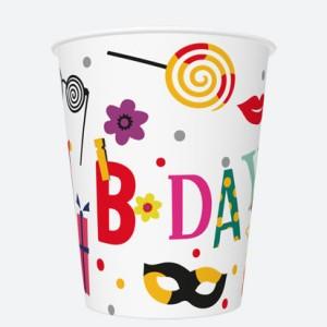 Kubeczki z napisami papierowe - Kubeczki na urodziny Funny Birthday / 250 ml