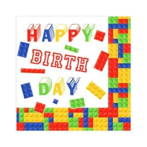 Serwetki papierowe z napisami - Serwetki klocki Lego / 33x33 cm