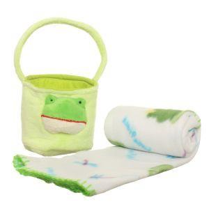 Zestawy prezentów dla dzieci - Pluszowy kocyk z żabką z koszyczkiem