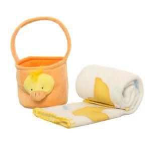 Zestawy prezentów dla dzieci - Pluszowy kocyk z kaczuszką z koszyczkiem