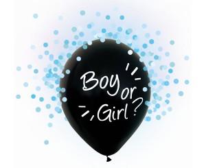 Pomysły na ujawnienie płci dziecka - Balony lateksowe Boy or Girl, niebieskie konfetti