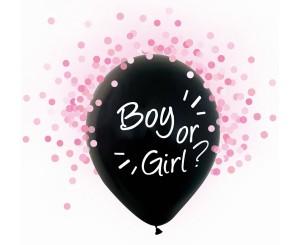 Pomysły na ujawnienie płci dziecka - Balony lateksowe Boy or Girl, różowe konfetti