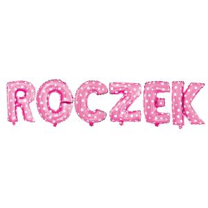 Girlandy napisy z balonów na powietrze - Balon na Roczek dziewczynki foliowy, różowy w białe serduszka
