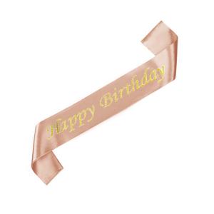 Szarfy - Szarfa różowe złoto z napisem Happy Birthday