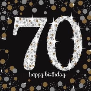 Serwetki bibułowe cyfry i liczby - Serwetki na 70 urodziny - Sparkling Celebration / 33x33 cm