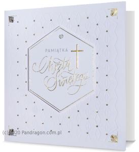 """Kartki i pamiątki na Chrzest Święty - Kartka na chrzest """"Pamiątka Chrztu Świętego""""  UK-GOLD-10"""