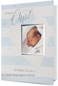 """Kartki i pamiątki na Chrzest Święty - Kartka na chrzest """"W dniu Chrztu Świętego"""" od Matki Chrzestnej / HM200-2015"""