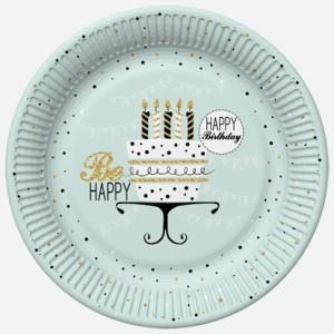 Talerzyki z napisami - Talerzyki papierowe miętowe Happy Birthday / 22,7 cm