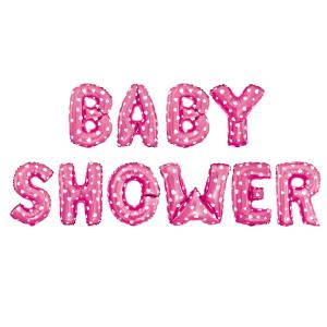 Girlandy napisy z balonów na powietrze - Balony na Baby Shower dziewczynki foliowy, różowy w białe serduszka
