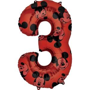 """Balony foliowe cyfry 66 cm - Balon foliowy cyferka """"3"""" z Myszką Mickey / 66 cm"""