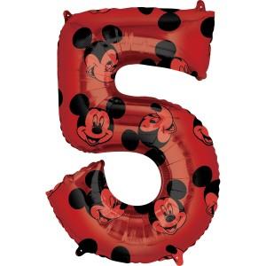 """Balony foliowe cyfry 66 cm - Balon foliowy cyferka """"5"""" z Myszką Mickey / 66 cm"""