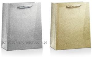 Torebki na prezenty - Torebka na prezent brokatowa, mix wzorów / 30x40 cm