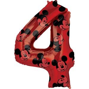 """Balony foliowe cyfry 66 cm - Balon foliowy cyferka """"4"""" z Myszką Mickey / 66 cm"""