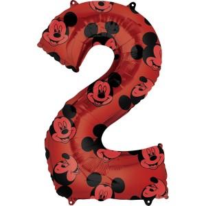 """Balony foliowe cyfry 66 cm - Balon foliowy cyferka """"2"""" z Myszką Mickey / 66 cm"""