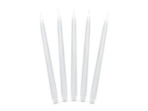 Świeczki stożki - Świeca stożkowa matowa, biała / 24 cm