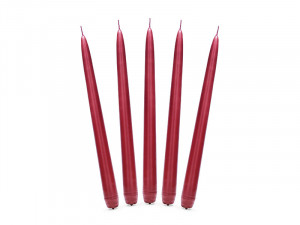 Świeczki stożki - Świeca stożkowa matowa, czerwona / 24 cm