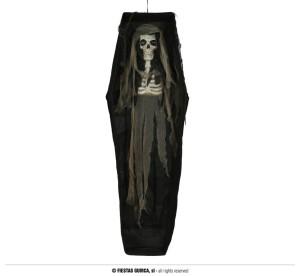 """Dekoracje na Halloween Straszydła - Ozdoba na Halloween """"Szkielet w trumnie"""" z podświetleniem / 160 cm"""