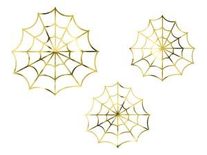 Dekoracje na Halloween do postawienia - Ozdoby na Halloween - złote Pajęczyny