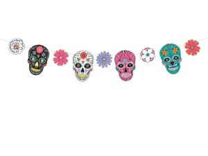 """Dekoracje na Halloween do powieszenia - Girlanda """"Maski Dia de Los Muertos"""" / 1,2 m"""