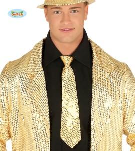 Krawaty - Złoty krawat z cekinami