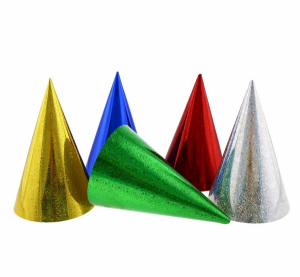Czapeczki - Czapeczka urodzinowe, holograficzne - mix kolorów / 12x17,5 cm